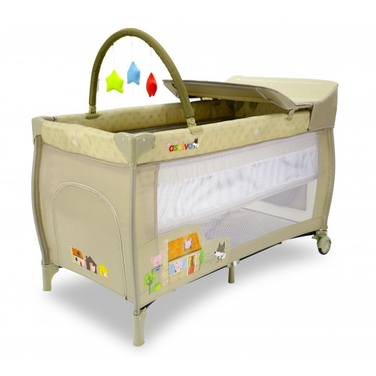 Travel Cot Asalvo Mix Plus The Three Little Pigs Beige