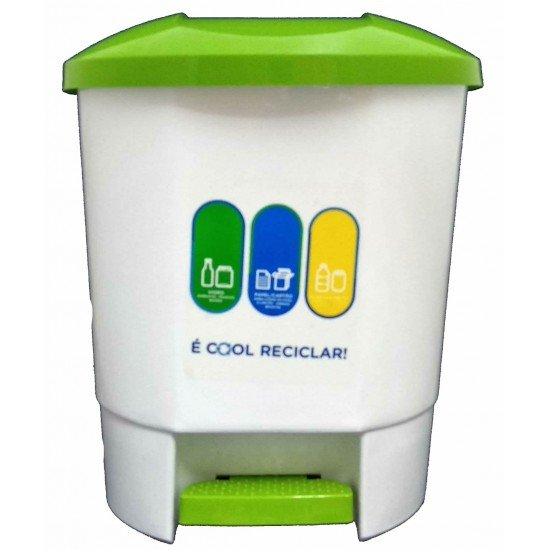 30 Litre Recycling Bin with 3 Recycling Compartments White with Green Lid and Pedal