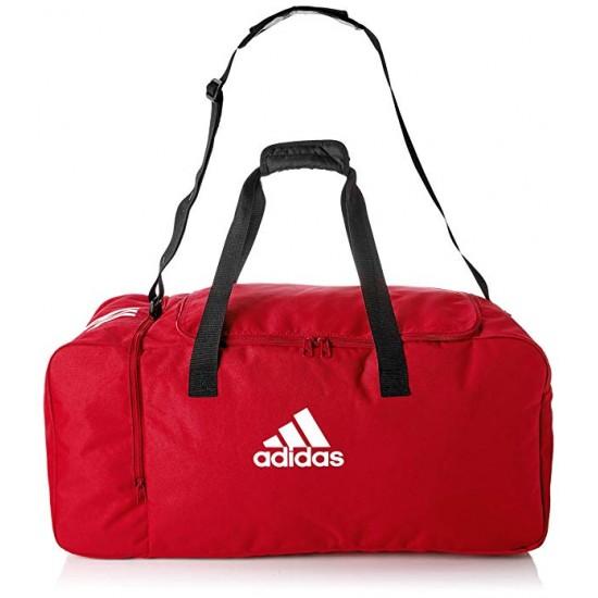 Saco despotivo Adidas Tiro Du con bolso lateral vermelho e preto