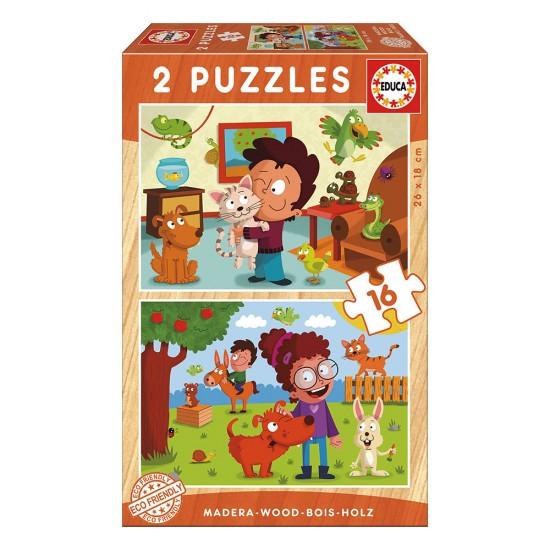 2x Super Puzzle 16 Madeira Animais Estimação