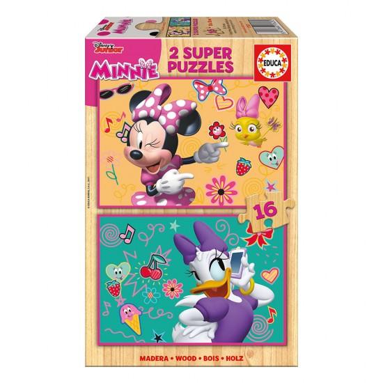 2x Super Puzzle de Madera 16 Minnie Happy Helpers