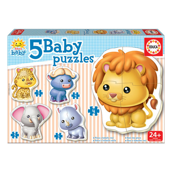 5 Baby Puzzles Animais Selvagens