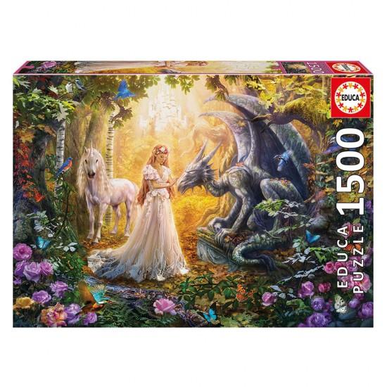 Puzzle 1500 Dragón, Princesa y Unicornio
