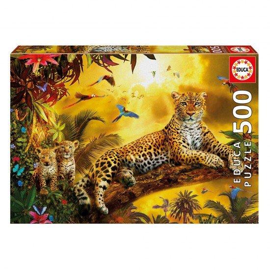 Puzzle 500 Leopardo com as Crias