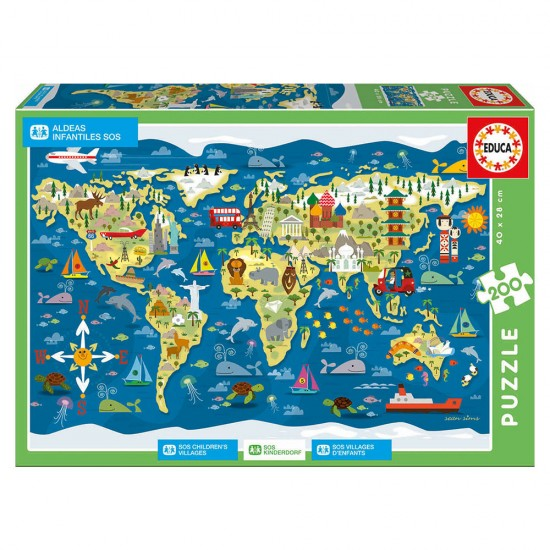 Puzzle Educa SOS 200 Mapa-Múndi Sean Sims