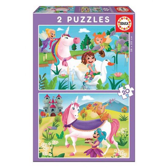 Puzzle Junior 2X20 Unicórnios e Fadas