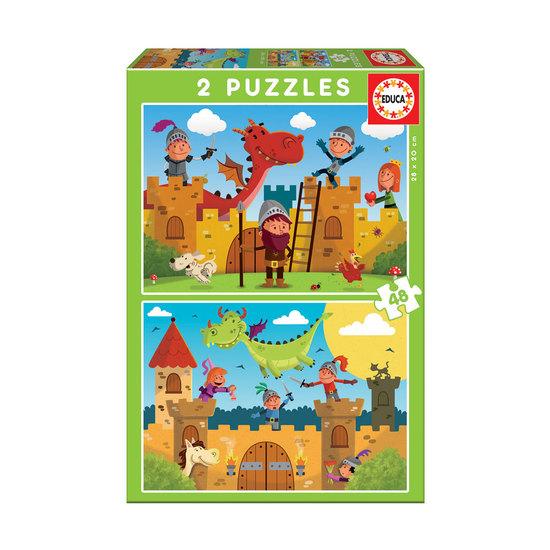 Puzzle Junior 2X48 Dragones y Caballeros
