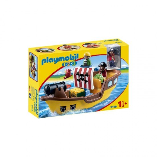 Playmobil 1.2.3 Floating Pirate Ship with Water Cannon - 9118