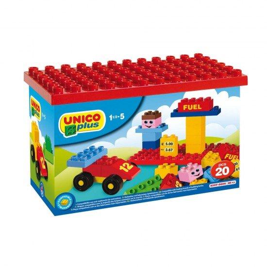 Unico 20 Blöcke Tankstelle in Kunststoffbox