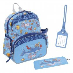 Laken Blue Children's Backpack with Thermal Pocket for Children Over 3 years Katuki-Dolphin