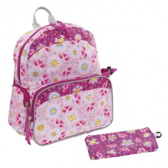 Laken Pink Children's Backpack with Thermal Pocket for Children Over 3 Katuki-Bugs and Flowers