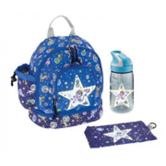 Laken Mochila Infantil Azul 27 cm (2 años) con Botella y Bolsillo Térmico Kosmos