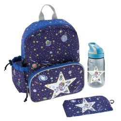 Laken Blue Children's Backpack 33 cm with Thermal Pocket and Space Oddity bottle