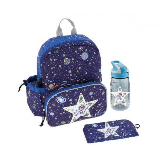 Laken Blauer Kinderrucksack 33 cm mit Thermotasche und Space Oddity Flasche