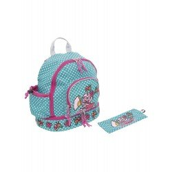 Laken Green Children's Backpack and Pink 27 cm (2 years) with Thermal Pocket Katuki-Baby Flamenco