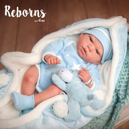 Arias Dolls Reborns 40 cm Carlos w/ Blanket and Teddy - 98036