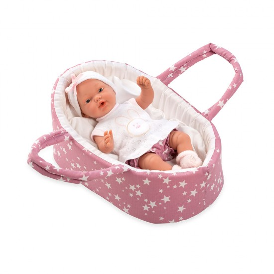 Arias Dolls Elegance 26 cm Pink Pillines with Carrycot - 60227