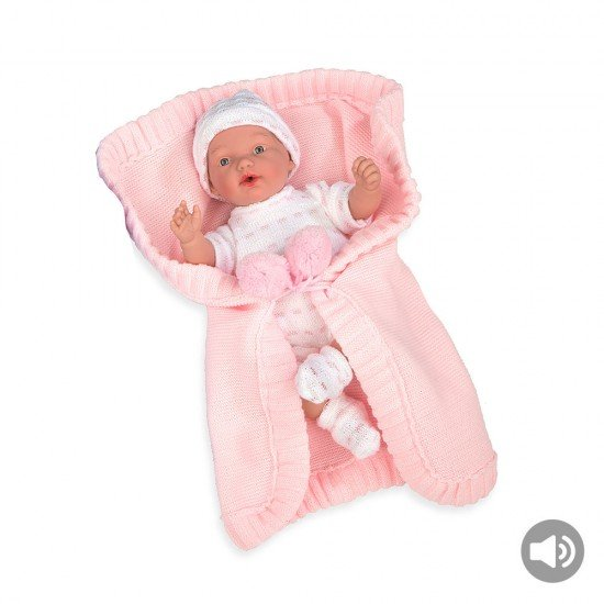 Arias Dolls Elegance 28 cm Pink Hanne with Blanket and Sound - 60242