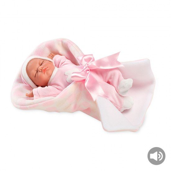 Arias Dolls Elegance Pink Noa with Carrycot + Sounds 28 cm - 60135