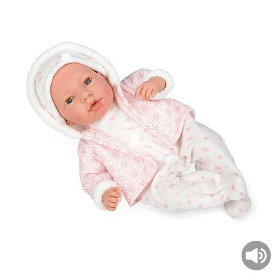 Bonecas Arias Elegance 38 cm Andie Rosa com Babygrow Branco + Som - 60267