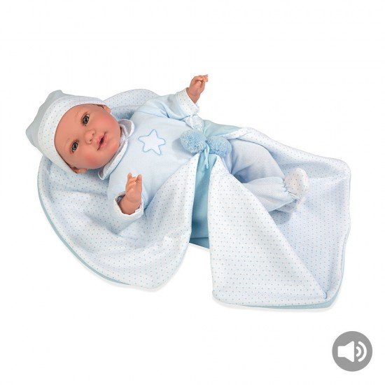 Arias Dolls Elegance 42 cm Blue Iria w/ Blanket and Sound - 65254