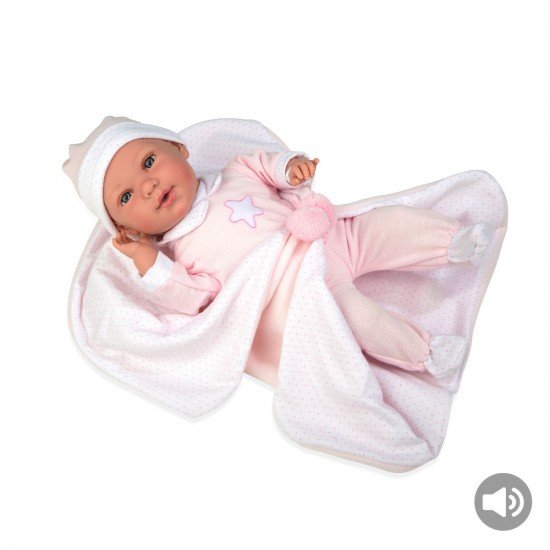 Arias Dolls Elegance 42 cm Pink Iria w/ Blanket and Sound - 65253