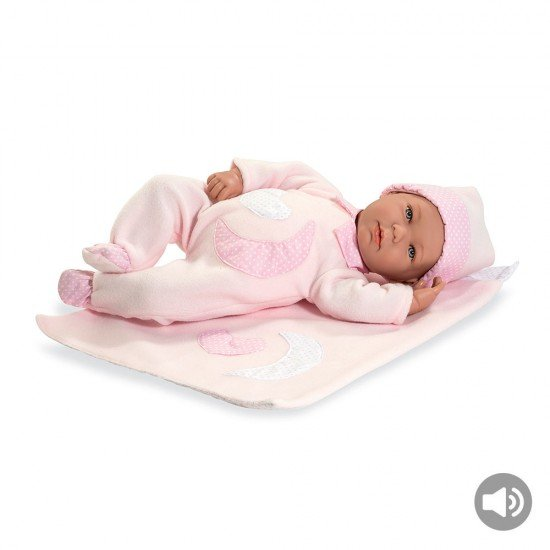 Arias Dolls Elegance 45 cm Lois with Blanket Pink w/ Sound - 65182