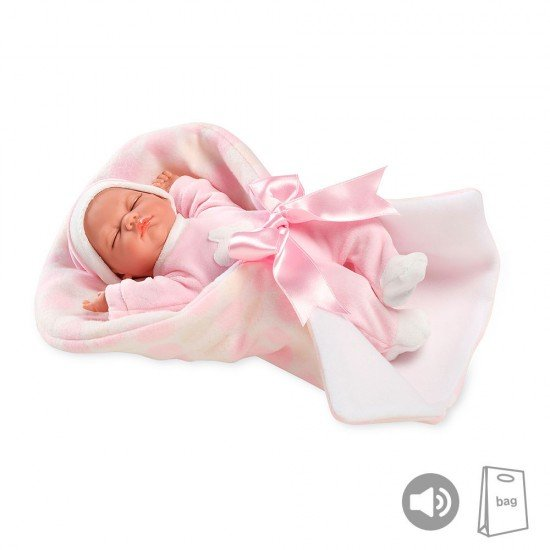 Arias Dolls Elegance PB Pink Noa with Carrycot 28 cm w/ Sound - 50135