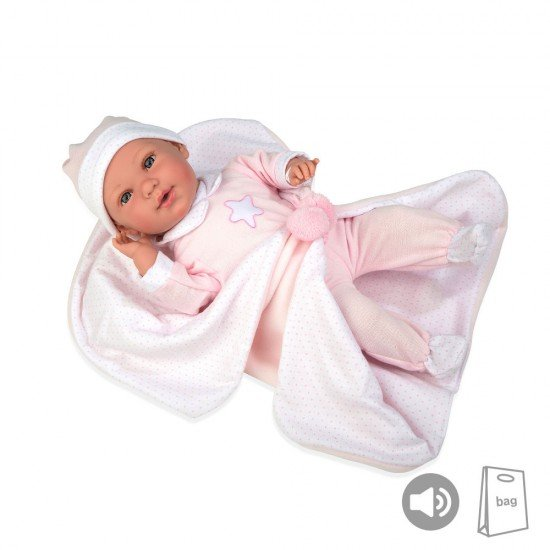 Arias Dolls Elegance PB 42 cm Pink Iria w/ Blanket and Sound - 55253
