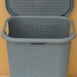 Bittamina Basket Gray Bamboo Outfit with lid and wheels