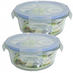 Bittamina Set of 2 Round Crystal Airtight Box 600ML