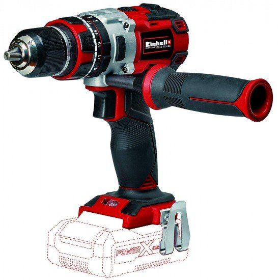Einhell Expert TE-CD 18 Li-i - Cordless hammer drill (without battery, 18 V, 2 speeds, 60 Nm, LED light, Power-X-Change) red
